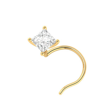 Real Princess Cut Solitaire Diamond Nose Stud At Best Price View