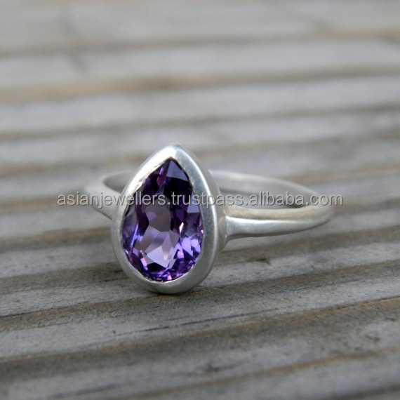 Amethyst gemstone Ring 925 Sterling silver Ring Stacking Ring Handmade Silver Jewellery