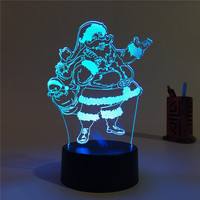 Santa Claus 3D LED Lamp Night Light 7 Colors Changing Christmas Decoration Children Gifts
