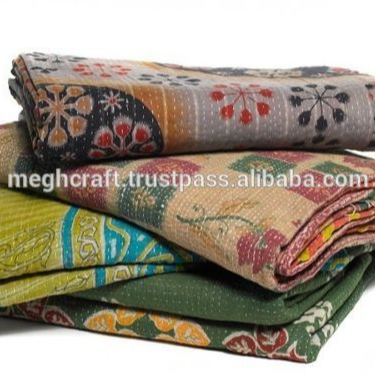 Bedspread Cotton Blanket Vintage Quilt Throw Ralli Gudari Handmade Kantha Quilt Meticulous Dyeing Processes Home, Furniture & Diy Decorative Quilts & Bedspreads