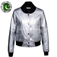Limited Edition Pure Silver Soft Leather Women's Short Baseball Bomber College Club Jacket