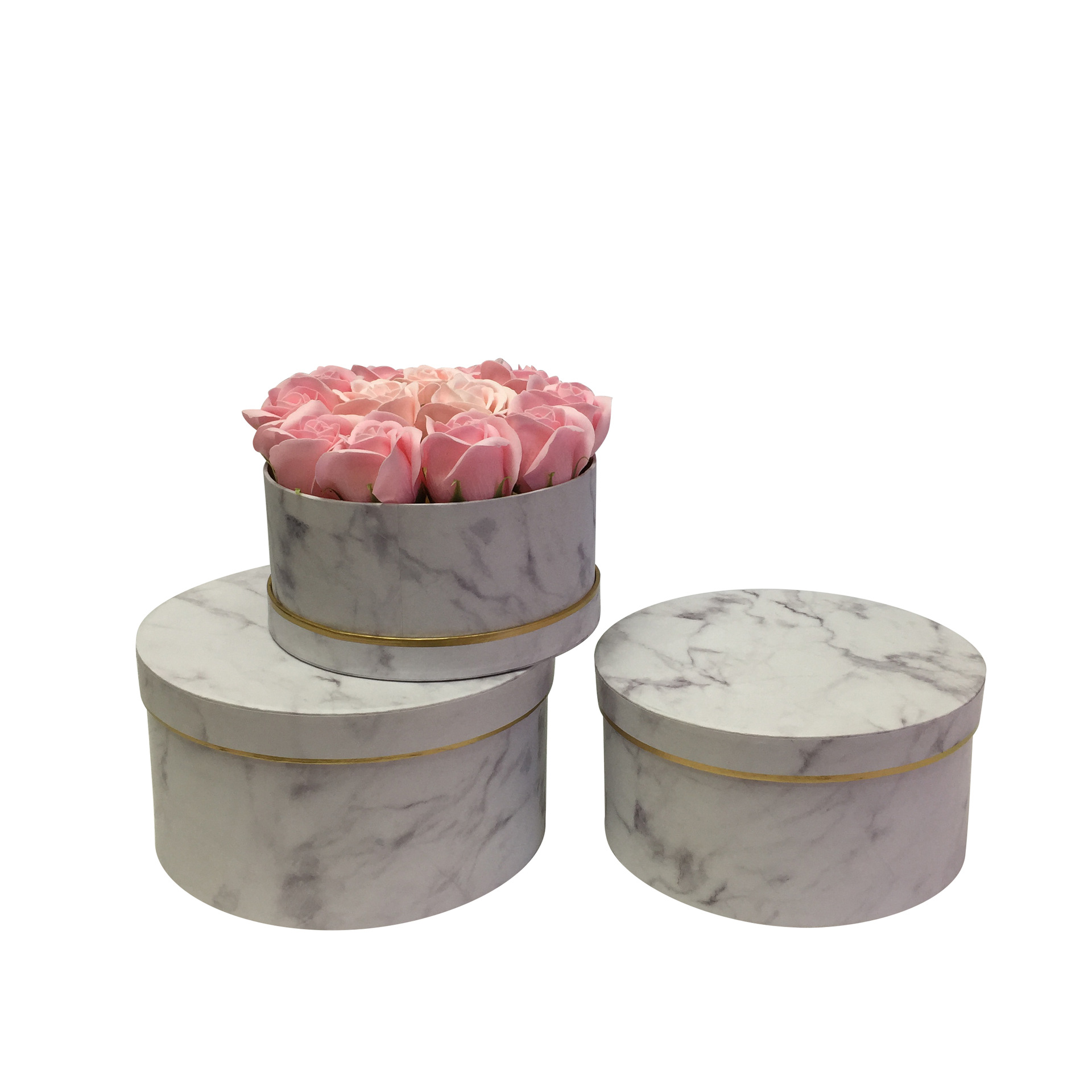 Hot sale Marbling  Preverved Flower Gift Box Round Cardboard Artificial Flowers And Box Gift Boxes