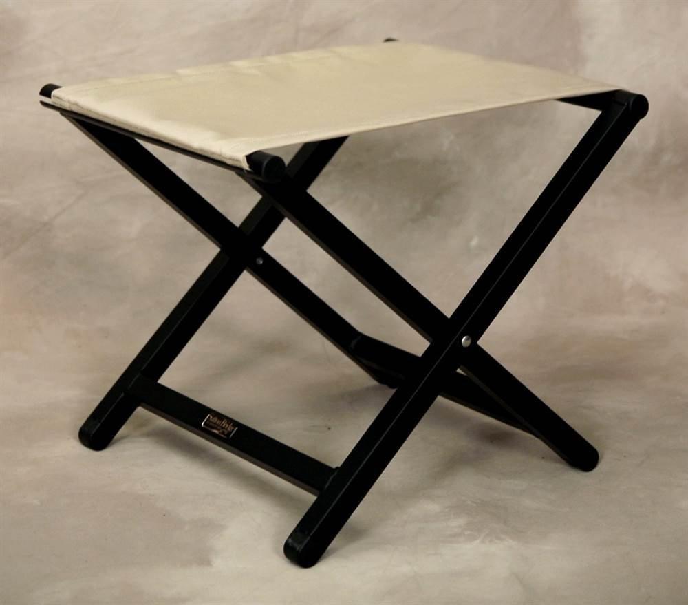 Folding Aluminum Director Style Footstool w Linen Fabric Top
