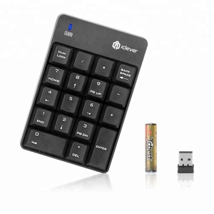iClever Wireless USB Numeric Keypad 18 Keys 2.4G Portable Slim Mini Number Pad for iMac, Laptop PC