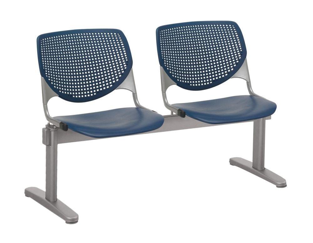"Kool Polypropylene Two Seat Beam Seating Navy Polypropylene/Silver Frame Dimensions: 47""W x 22""D x 31""H Seat Dimensions: 18""Wx18""Dx18""H Back Dimensions: 19""Wx13.5""H Weight: 58 lbs"