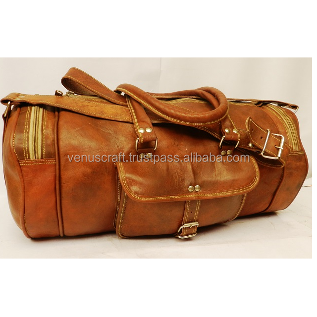 """New 24/"""" Men Brown Vintage Real Travel Luggage Duffel Gym Bags Tote Goat Leather"""