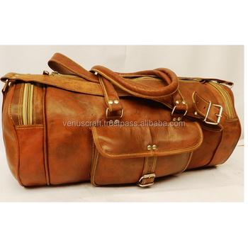 0e52c0e249 Real Goat Leather Vintage Travel Luggage Bag Shoulder Gym Duffel Bag ...