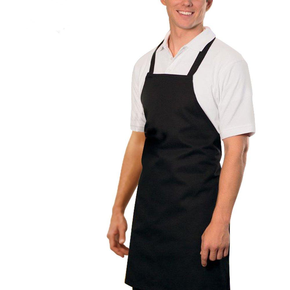 Heselian Professional Black Bib kitchen Apron, Cooking Apron, Chef Aprons, Apron for Women, Apron For Men, Durable, Machine Washable, Comfortable