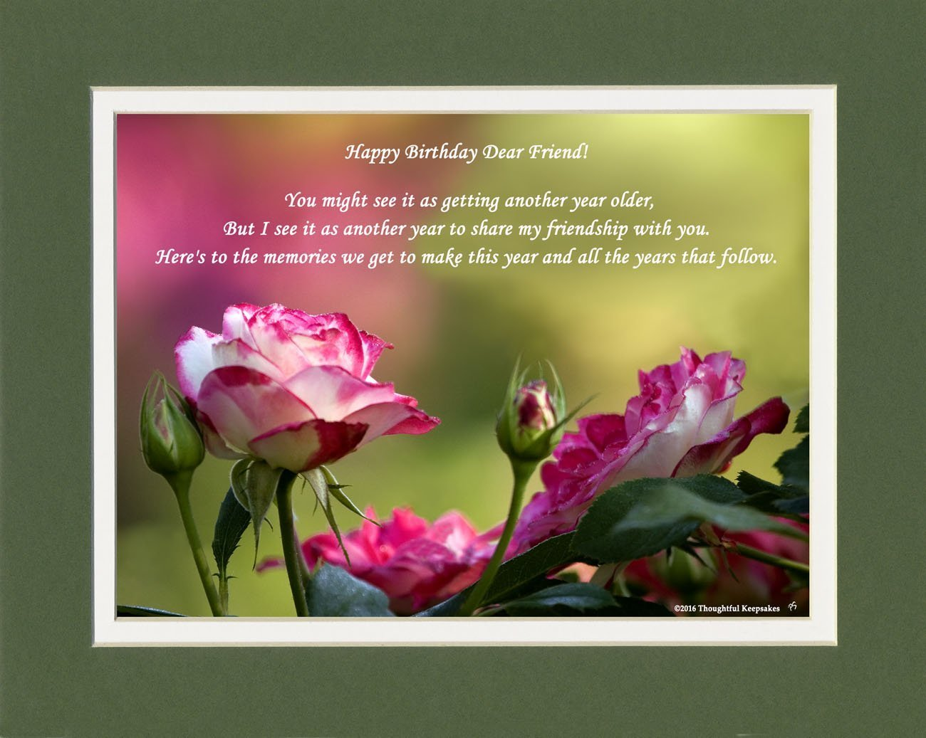 Friend Birthday Gift Roses Photo WithHappy Dear Poem 8x10
