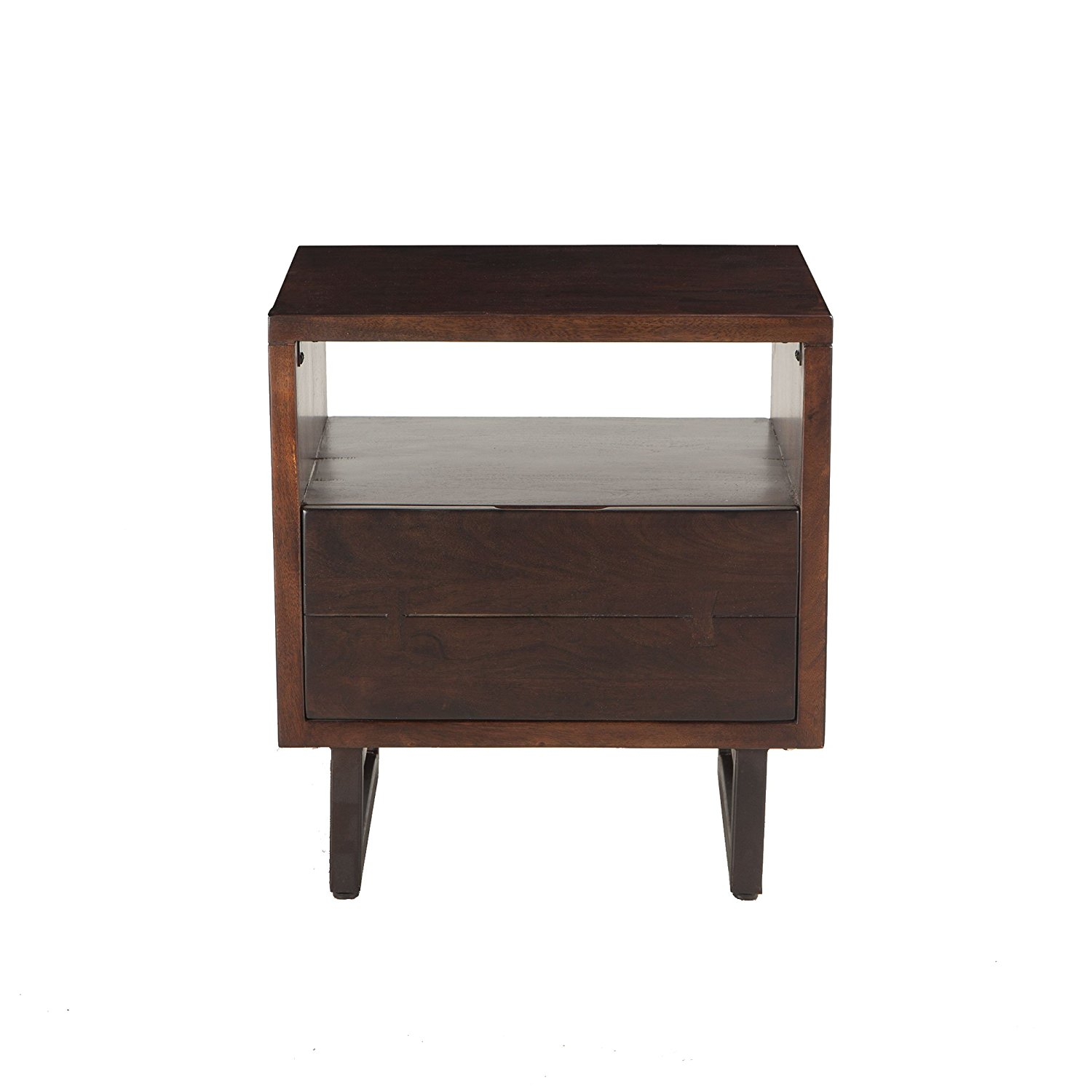 World Interiors Furniture Glenwood Acacia Night Chest, Dark Walnut Finish