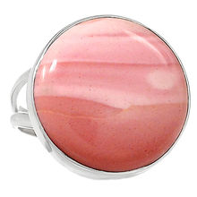 natural Australian Pink Opal 925 Sterling Silver Ring Jewelry s.8