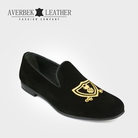 Turkey Embroidered Suede Loafers Velvet Smoking Slippers Mens Dress Shoes