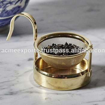 Tea Strainer | Metal Tea Strainer with Coaster