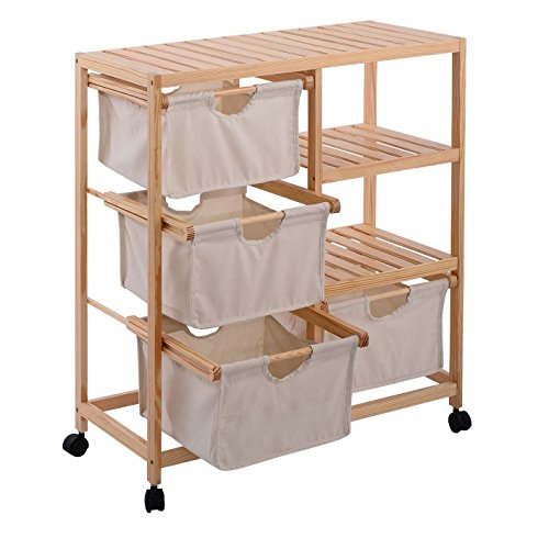 Get Quotations · Rolling Storage Cart With Drawers   4 Fabric Compartments  Mobile Organizer On Wheels W Wood Slatted