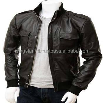 439c48415 Stylish Men Black Bomber Leather Jacket - Buy 2017 Biker Style Best Men  Leather Bomber Jackets,100% Original Leather Men Biker Leather Bomber ...