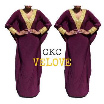 GKC-Velove Direct Supplier Moroccan Dubai Beaded Silk Spandex Kaftan Dress Indonesia