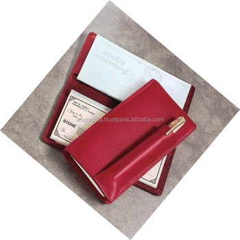 Clical Style Business Checkbook Holder Cover With Pen Loop