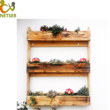Factory Price Hand Made Wood Log Flower Pot
