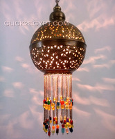 BR348 Handmade Brass Etched Hanging Baby Beaded Ball Pendant Lamp