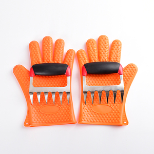 2019 Best selling living coral color set of barbecue gloves & metal pulled pork claws