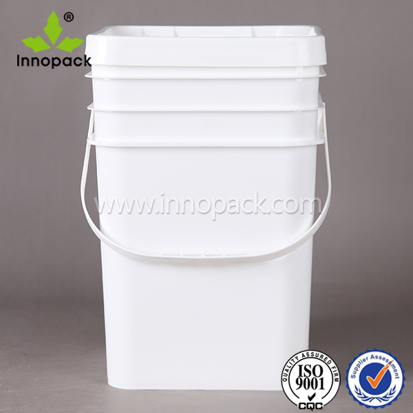 20L square plastic bucket plastic fastener pail with lid