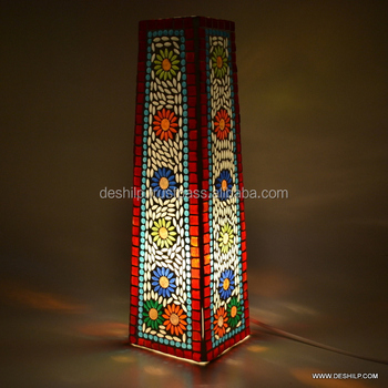 Mosaic Glass Table Lamp, Decorated Lamp Antique Glass Mosaic Table Lamp  Showpiece