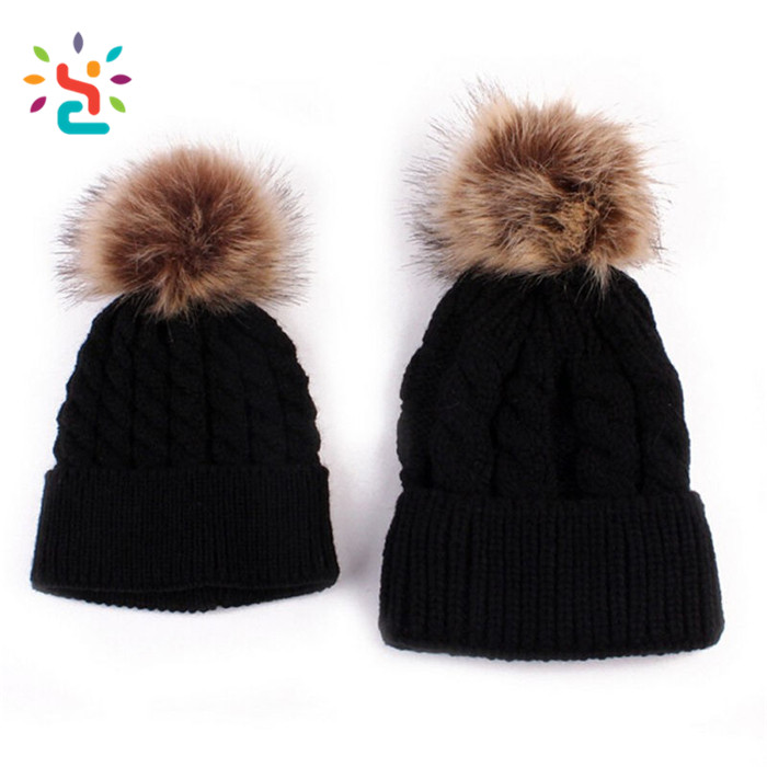 Mun and son Detachable ball beanie fold cap 100% Organic Cotton black beanies  cap top da90096a56c