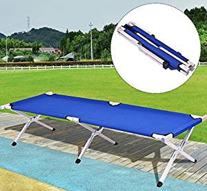K&A Company Blue Foldable Camping Bed Portable Hiking Cot Bag Outdoor Carry Water Resistant Military Travel With Waterproof Carrying Cots Sturdy Frame