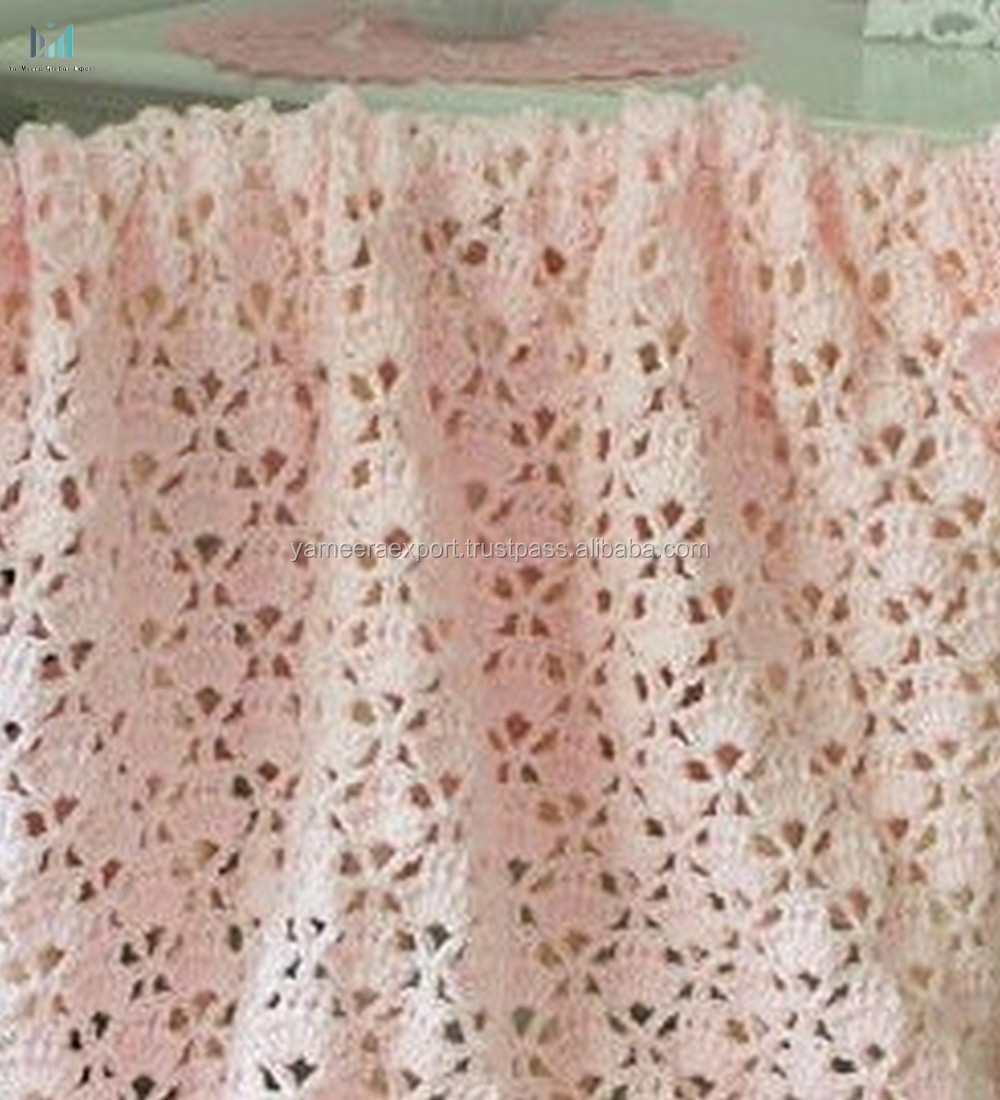 Image of: 100 Cotton Handmade Lace Baby Blanket With Ruffled Trim Crochet Pattern Cupcakes Pink Baby Afghan Pattern Buy 100 Cotton Blanket Cotton Knitted Throw Blanket Moroccan Wedding Blanket Product On Alibaba Com