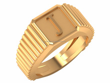 J Alphabet Joy Is A Net Of Love By Which You Can Catch Souls Gold Band Ring 14k Yellow Gold For Male Party Wear
