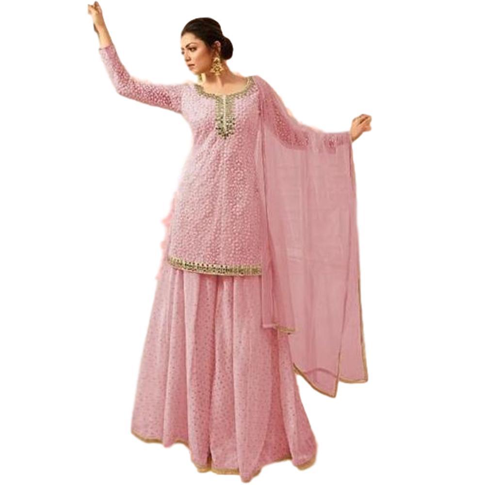 Indian Pink Designer Partywear Stitched Net Ethnic Plazzo Dress Salwar Kameez