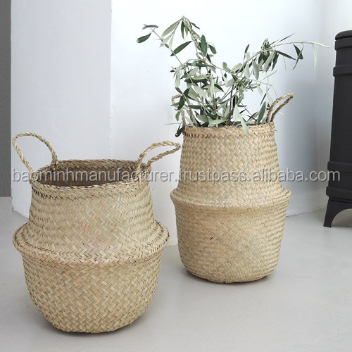 Tall and big natural panier boule/ Seagrass basket Vietnam