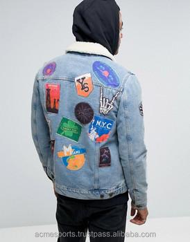 Denim Jackets - Patch Work Denim Jackets - Custom Patches Denim Jackets Low  Moq - Embroidered Patches Denim Jeans Jackets - Buy Mens Denim