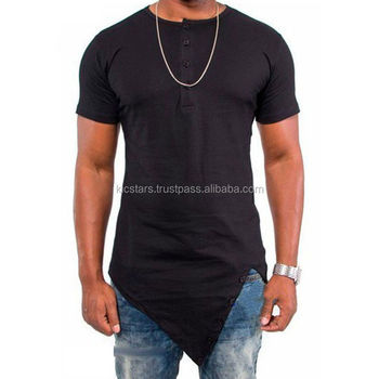 Fashion Clothes For Men Cotton OEM Elongated T Shirt/Asymmetric Hem Long-line Tee shirt