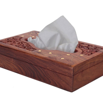 Handmade Wooden Kleenex Tissue Box Holder Cover With Br Inlay Velvet Interior