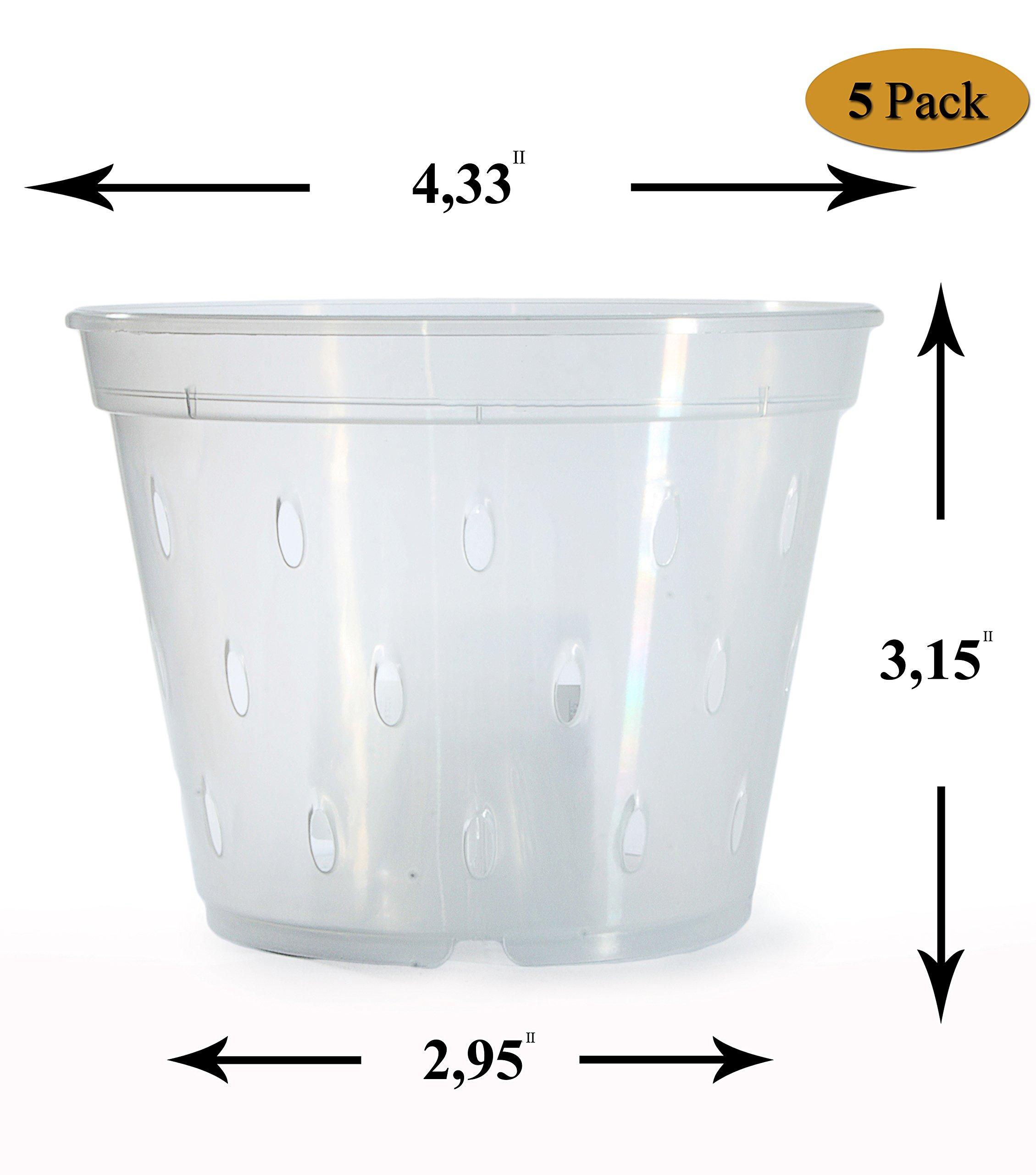 Orchid Pots With Holes Plastic-Orchid Pot-Clear Orchid Pot-4.5 inch-Orchids Pot-Plastic Orchid Pots-Pots For Orchids-Slotted Orchid Pot-Clear Plastic Pot-Orchid Flower Pot-Orchid Plant Pot-5 Pack