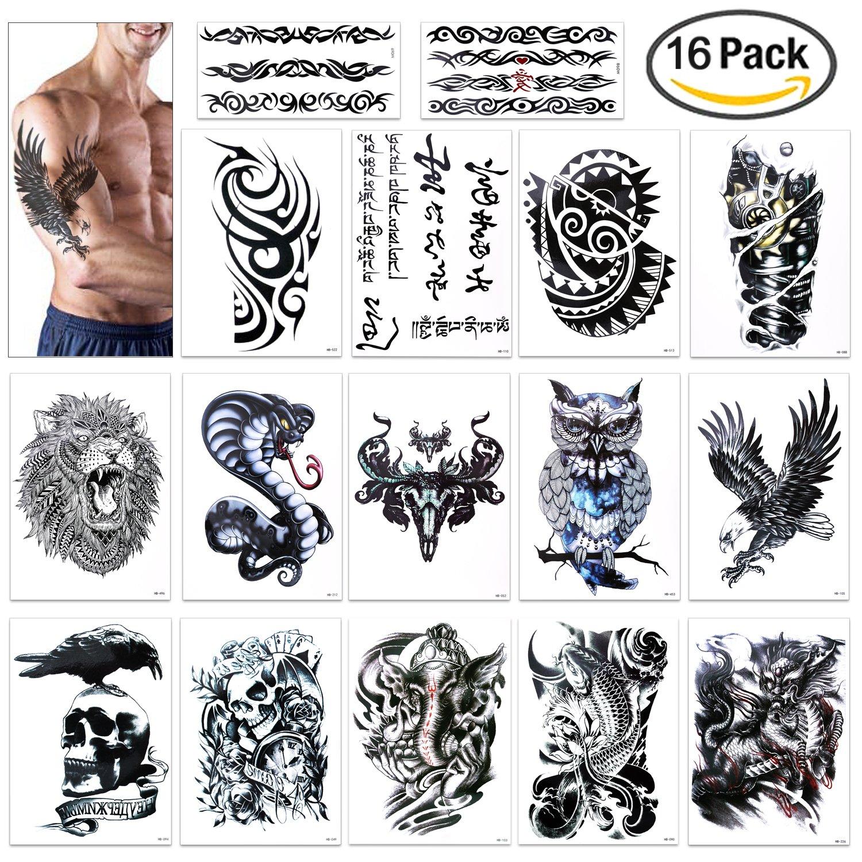 47760e838 Konsait Temporary Tattoo for Guys for Man Extra Fake Temporary Tattoo Black  tattoo Body Stickers Arm Shoulder Chest & Back Make Up - Lion, Dead  Skull,Koi ...