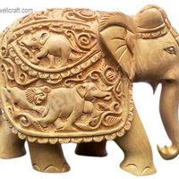 ELEPHANT WOOD CARVING HANDICRAFTS