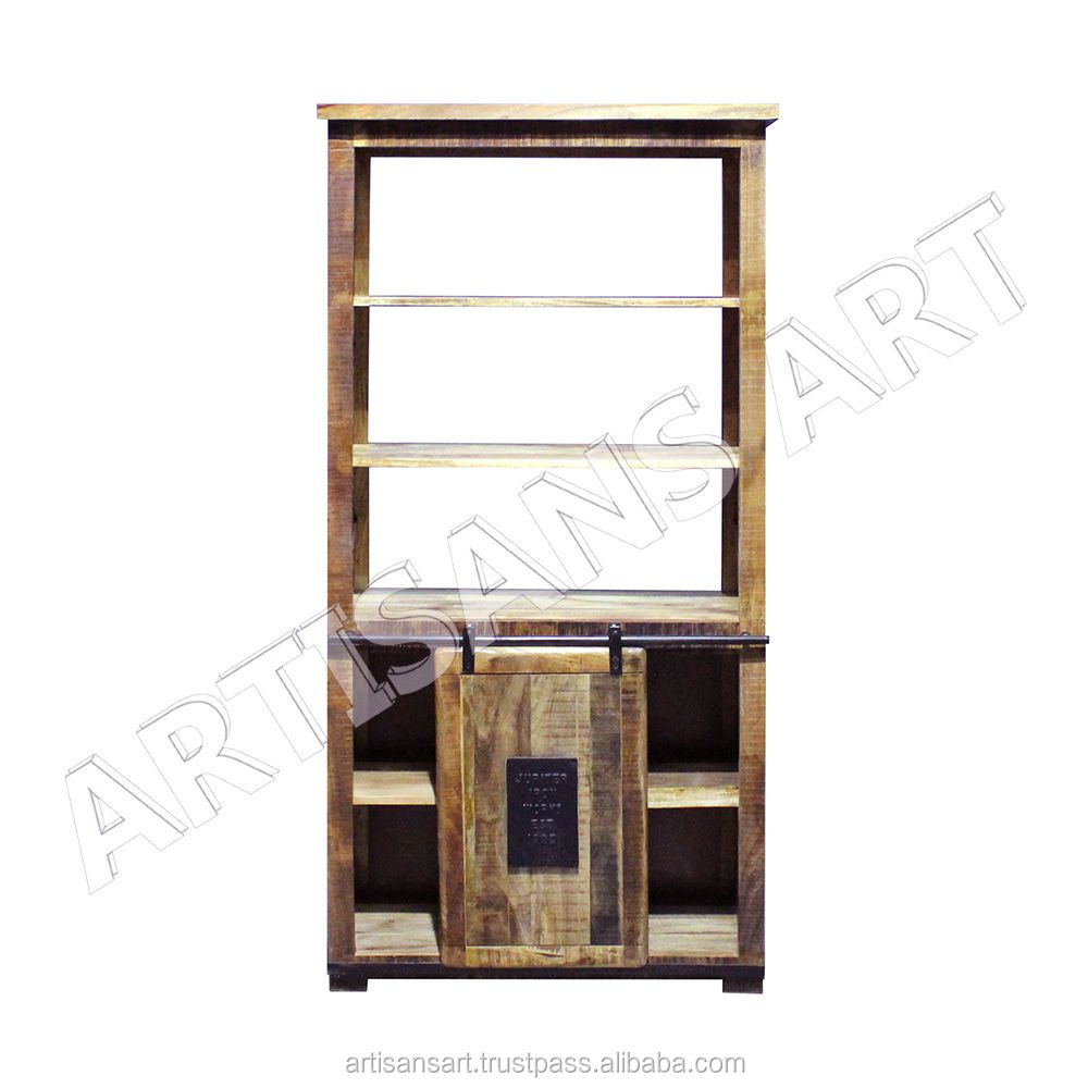 Vintage Industrial India Wood Exotic Office Book rack with Sliding Door , Vintage Book case, Industrial Furniture Suppliers