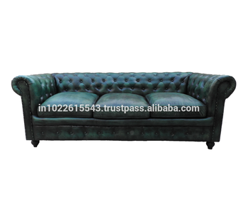 Charmant Industrial Vintage Leather Chesterfield Sofa, Antique Three Seater Genuine  Leather Sofa