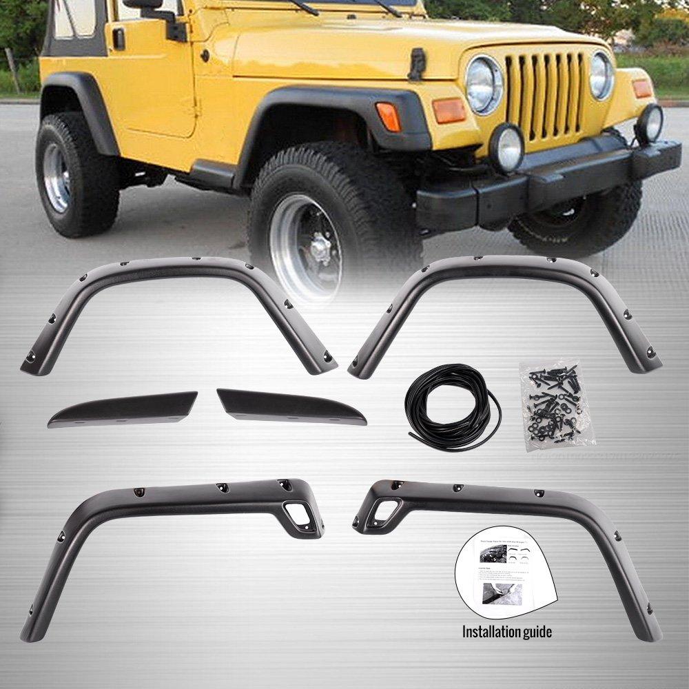 6PC For 97-06 Jeep Wrangler TJ 7 Wide Black Pocket Extended Fender Flares Kit 1998 1999 2000 2001 2002 2003 2004 2005