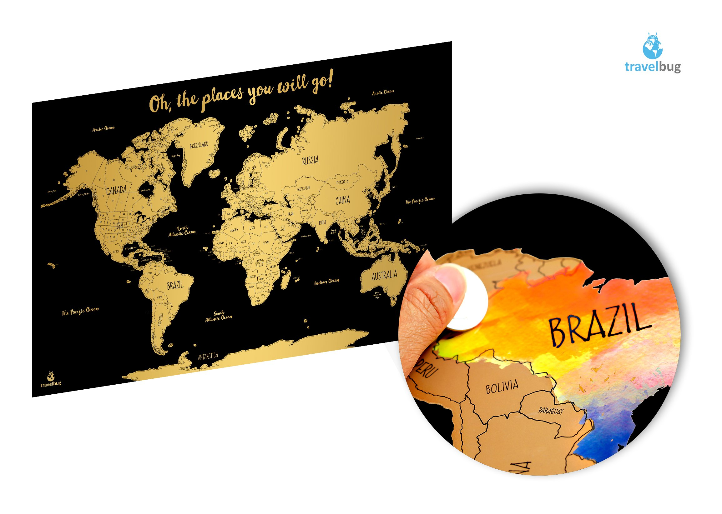 Get Quotations · Watercolor World Scratch Off Map  cd7823581