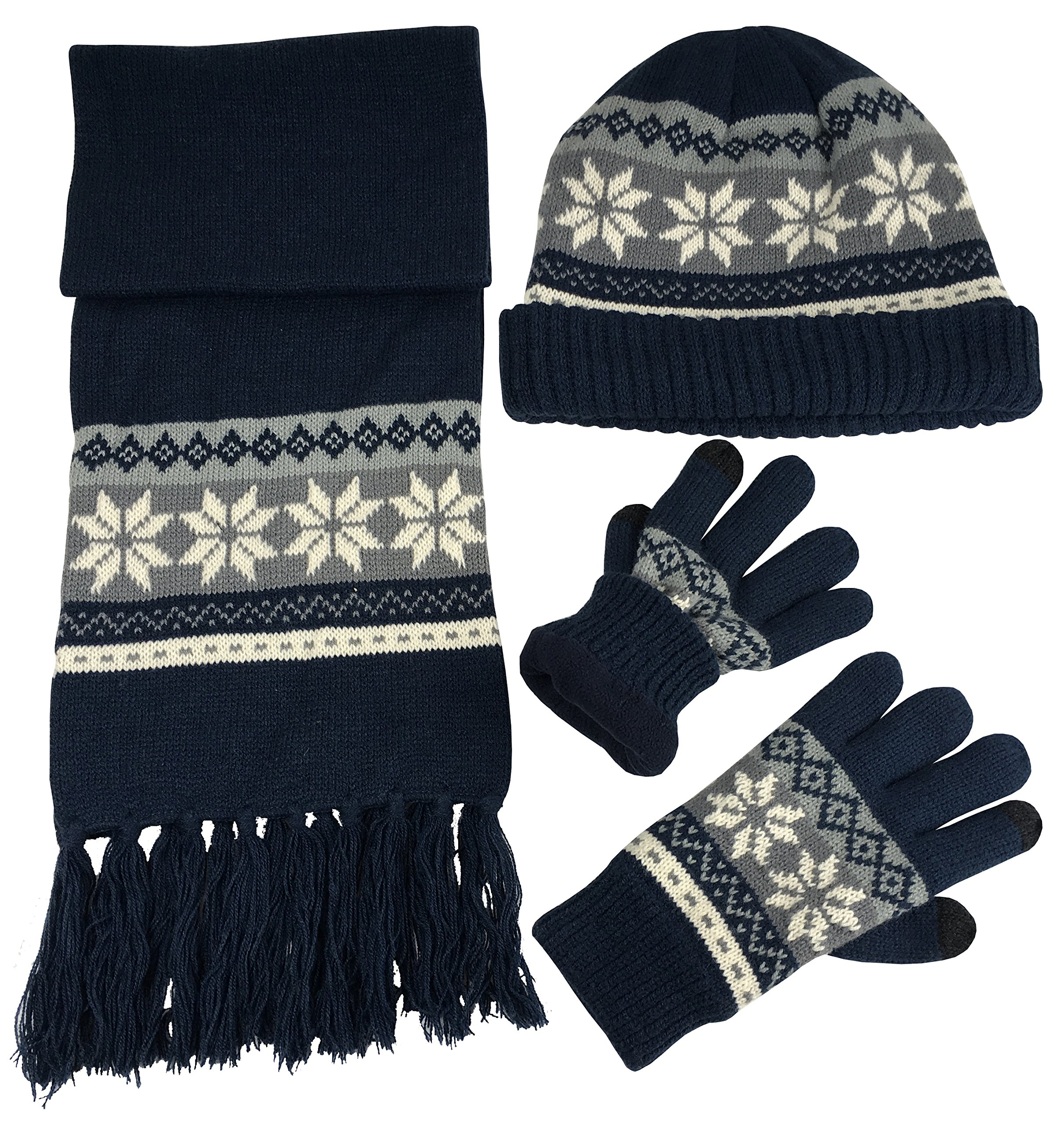 66a4bccc8dc Get Quotations · N Ice Caps Boys Bulky Cable Knit Hat Scarf Gloves 3PC Set  Snowflake Design