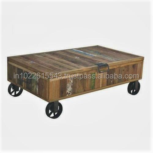Vintage Reclaimed Wood Coffee Table With Wheels Storage
