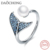 Mermaid Tail Ring 925 Sterling Silver Adjustable Dolphin Tail Rings with Pearl