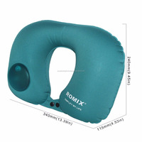 Travel Neck Pillow Airplanes Push-Button Supports Head Inflatable Pillow for Cars, Trains, Office Napping