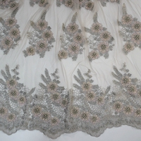 Top end french grey and pink 3d heavy pearl beaded lace fabric floral embroidery french tulle lace dress fabric HY0867-3