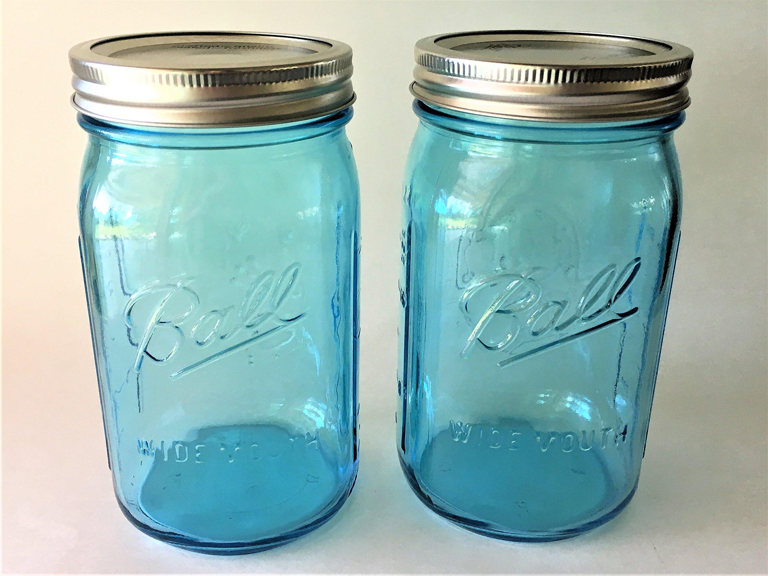 Ball Mason Jar-32 oz. Aqua Blue Glass Ball Collection Heritage Color Series-Set of 2