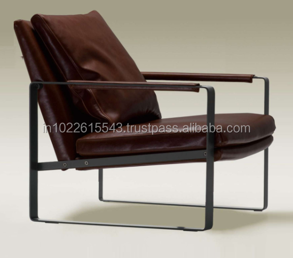 industrial metal leather recliner chair/ leather lounge chair