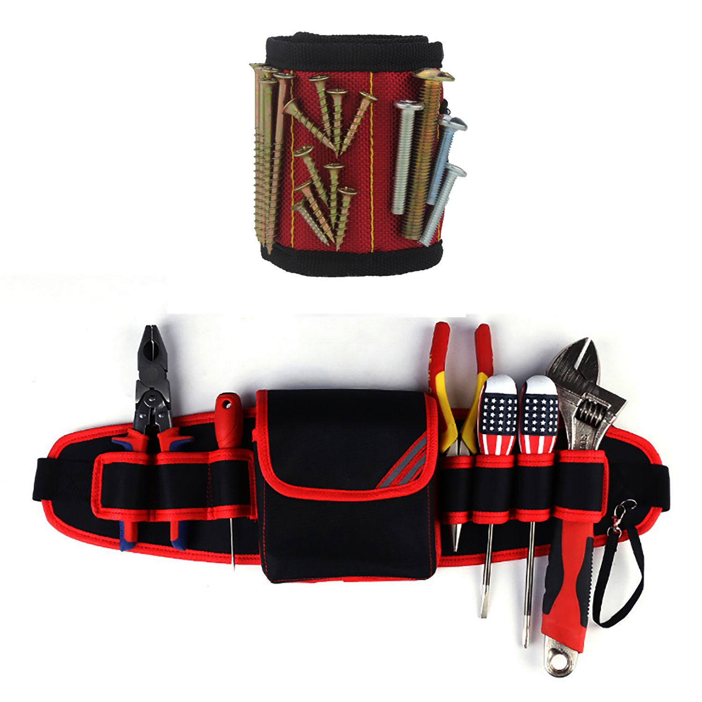 Electricians Waist Pkt Tool Belt Pouch Bag Screwdriver Carry Case Holder Outdoor Working Tool Belt Pouch (Red)